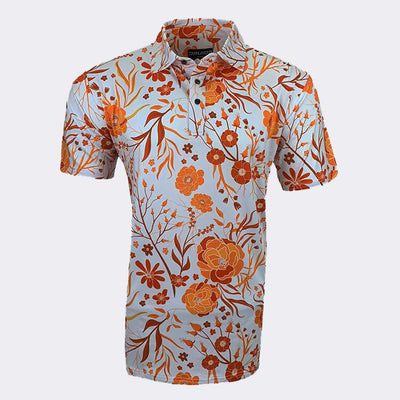 SUMMER FLOWERS ORANGE POLO