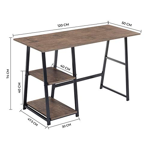 Aingoo Computer Desk with 2 Shelves for Storage Modern Writing Desk with Metal Frame for Home Office,Easy to Assemble, Brown