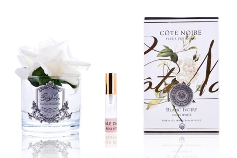 "Cã""Te Noire Perfumed Natural Touch Single Rose - Clear - Ivory White"