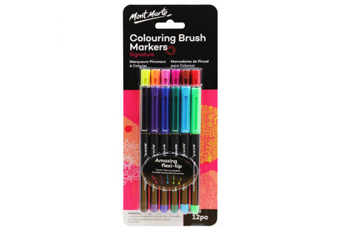 Signature Colouring Brush Markers 12Pc
