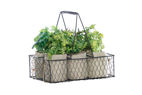 Urquart Wire Crate Hessian Herb Pots 6 - Faux Plant