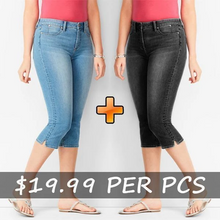 Load image into Gallery viewer, 70s Mid Rise Stretchy Denim Pedal Pushers