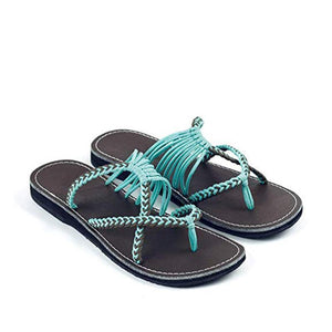 Women Handmade Flip Flops Summer Woven Beach Sandal Slippers
