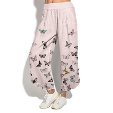 Load image into Gallery viewer, Butterfly Print Flap Pocket Loose Comfy Linen Pants