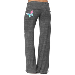 Fancy Butterfly Print Comfy Bell Bottom Yoga Pants