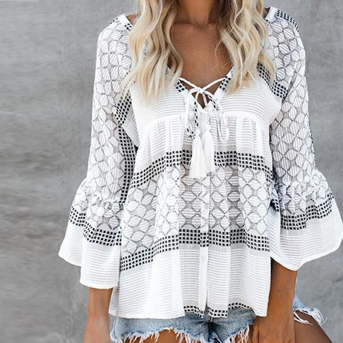 Boho V Neck Lace Flared Sleeve Blouse