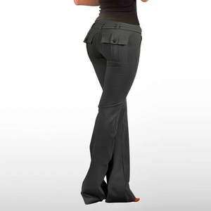 Women's Hip Hugger Flap Pockets Boot Cut Yoga Pants