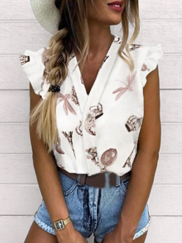Women's V-neck butterfly print short shirt