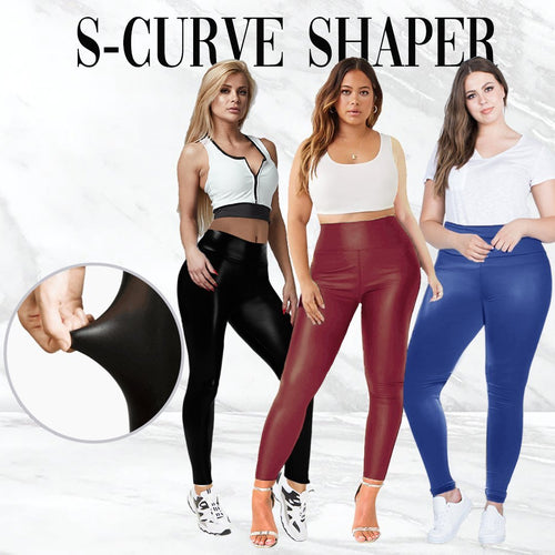 Wunder High Waist Stretch Tummy Booty Slimming Butt Lift Plus-Size Leather Leggings