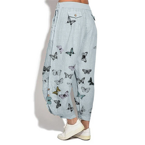 Butterfly Print Flap Pocket Loose Comfy Linen Pants