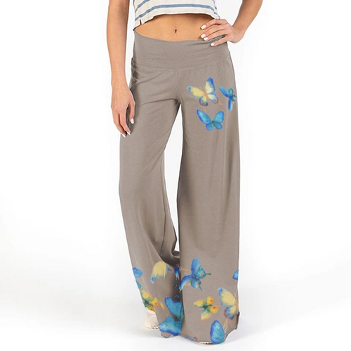 Butterfly Print Wide Leg Flowy Pants