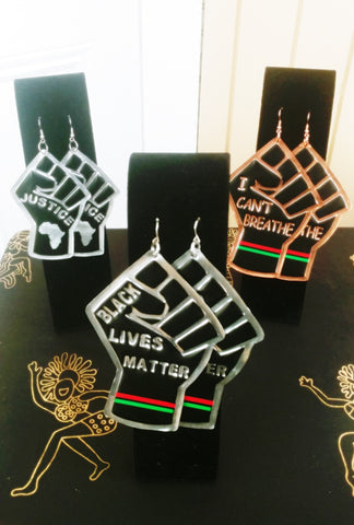 3-Combo: 'Justice', 'I Can't Breathe', and 'Black Lives Matter Statement Earrings