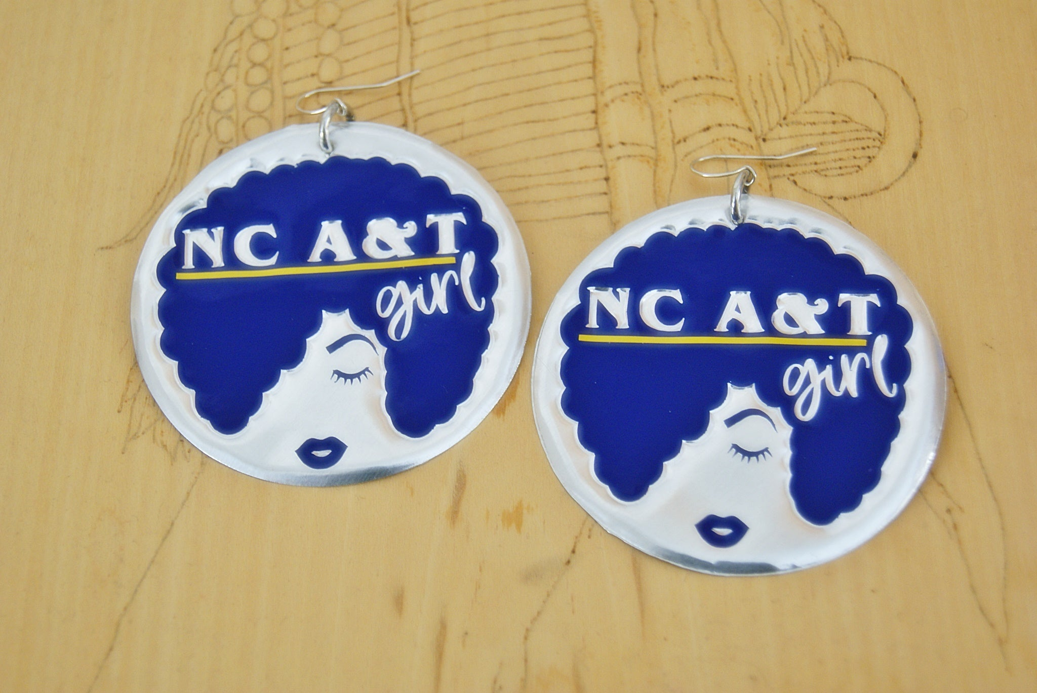 'NC A&T Girl' HBCU Afro Collection Afro Statement Earrings