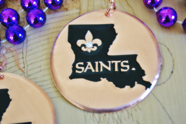 New Orleans 'Saints' in Louisiana Statement Earrings
