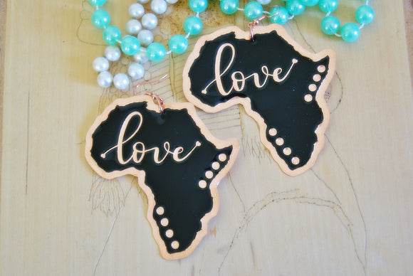 'Love' Africa Shaped Ethnic Copper Statement Earrings