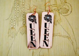 Copper Embossed Rose Queen Earrings with Crystal