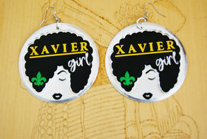 'Xavier Girl' HBCU Collection Afro Statement Earrings