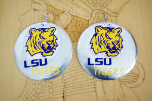 LSU Tiger Fun Football Handcrafted Earrings