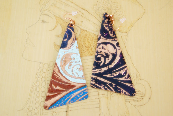 Multi-Colored Striped Floral Embossed Statement Earrings