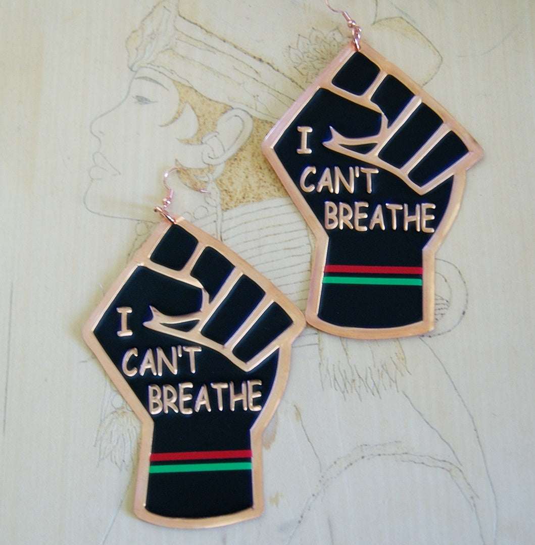 'I Can't Breathe' Handcrafted Copper Embossed Statement Earrings