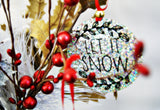Holographic Let It Snow Christmas Ornament Textured Active