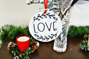 Encouragement of Love Christmas Ornament Textured