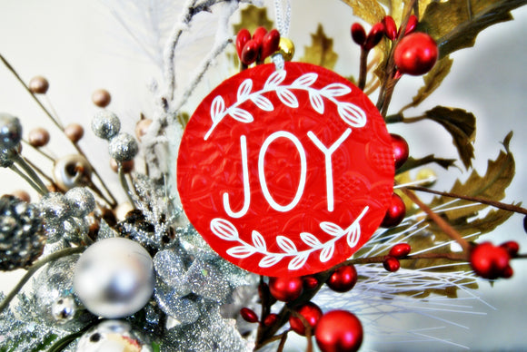 Encouragement of Joy Christmas Ornament Textured