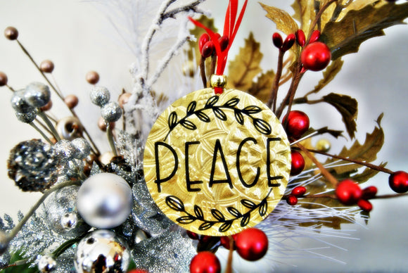 Encouragement of Peace Christmas Ornament Textured