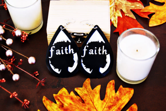 Handcrafted Black Afro FAITH Earrings