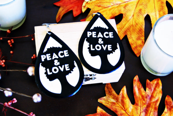 Handcrafted Black PEACE & LOVE Earrings
