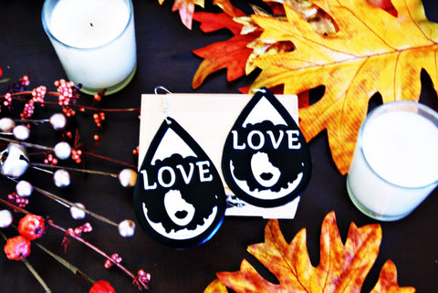 Handcrafted Black Afro LOVE Earrings