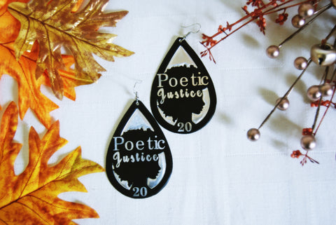 Handcrafted Black Afro POETIC JUSTICE Earrings