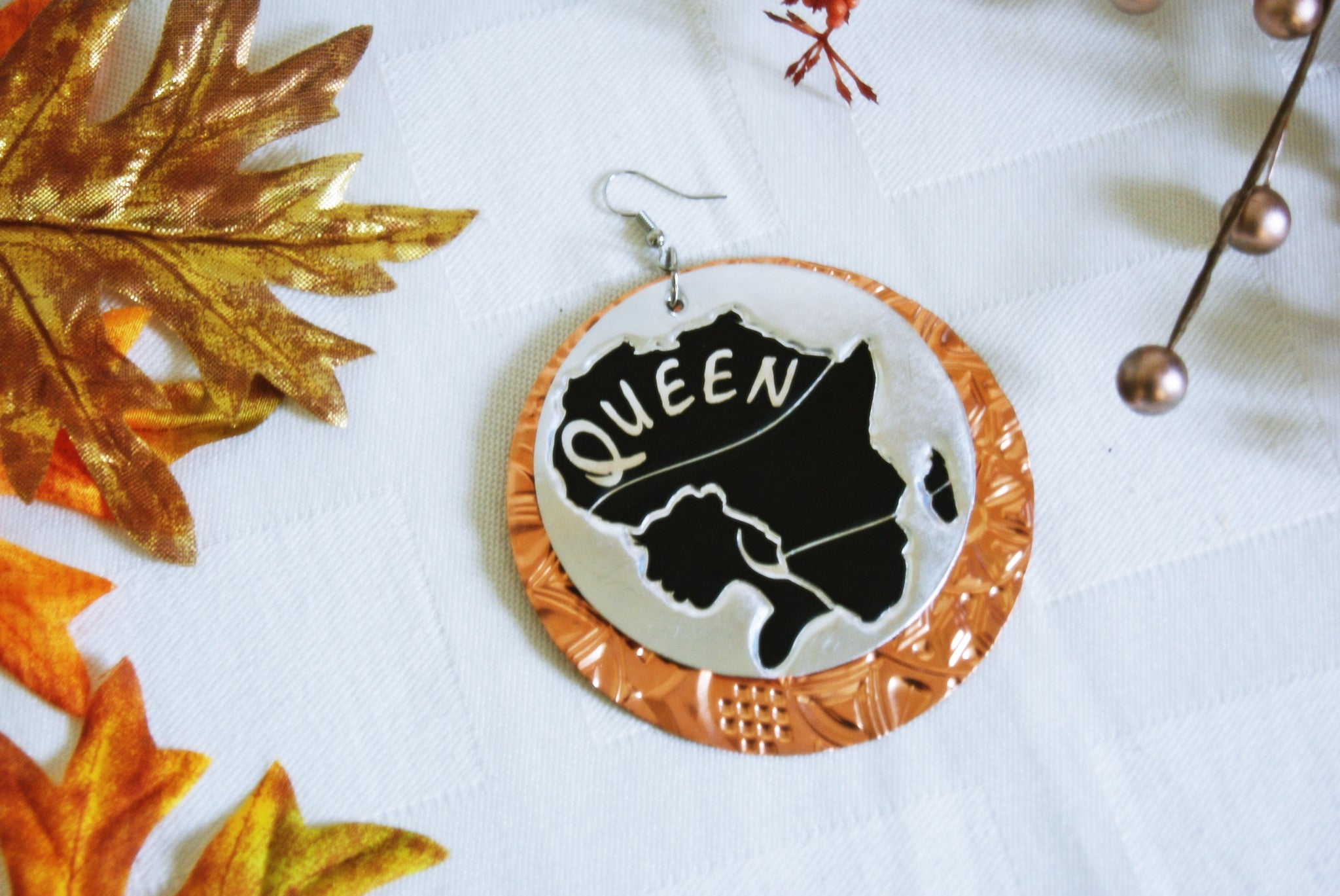 Unique Layered Africa Queen Handcrafted Textured Earrings