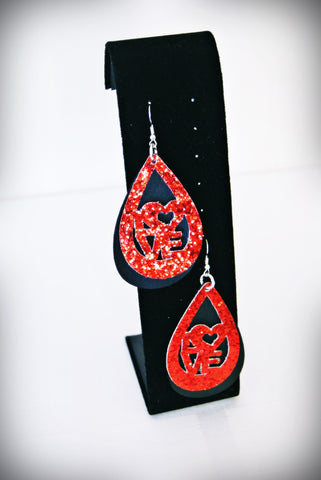 Handcrafted Layered LOVE Earrings: Red + Black