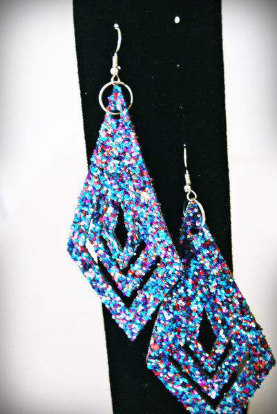 Handcrafted Multi-Colored Glitter Textured Diamond Shaped Earrings