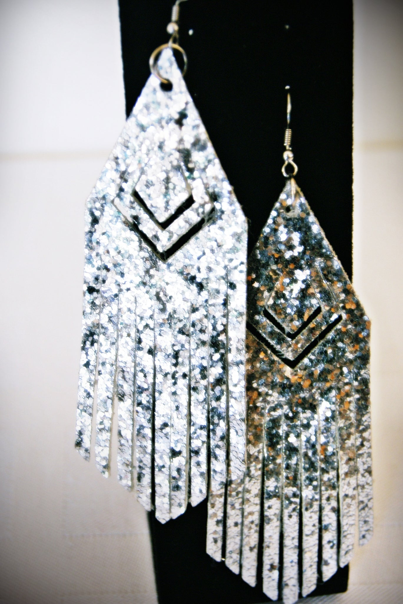 Silver Glitter Faux Leather Fringe Diamond Shaped Earrings