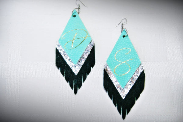 Diamond Shaped Fringe Multi-Color Layered Earrings - Faux Leather