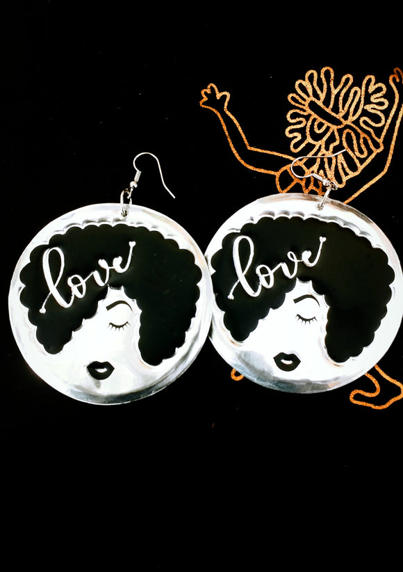 'Love' Afro Silhouette Statement Earrings