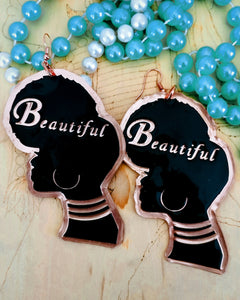 'Beautiful' Afro Silhouette Ethnic Copper Statement Earrings