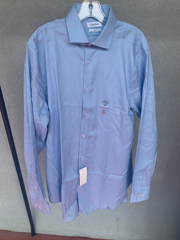 Calvin Klein French Blue Dress Shirt, NWT, Size 16.5, 34/35, L