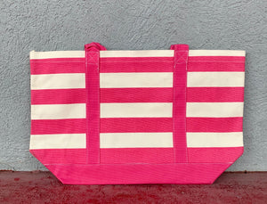 Pink and White Stripe Tote