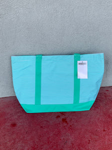 Teal Striped Tote