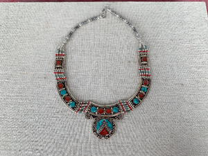 Turquoise, Jasper, and Silver Statement Necklace