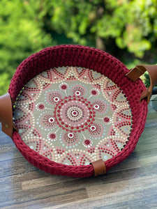 CROCHET0006 - Hand painted Crochet Basket Oval