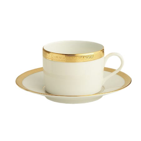 Christofle Malmaison Gold Teacup & Saucer