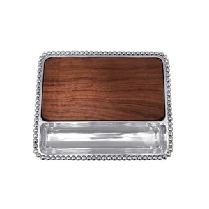 Mariposa Pearled Cheese Board, Dark Wood Insert