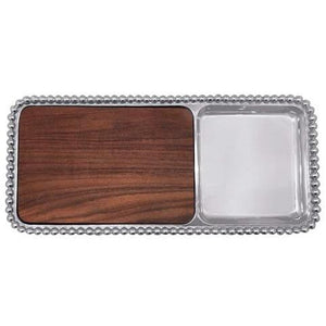 Mariposa Pearled Cheese & Cracker Server, Dark Wood