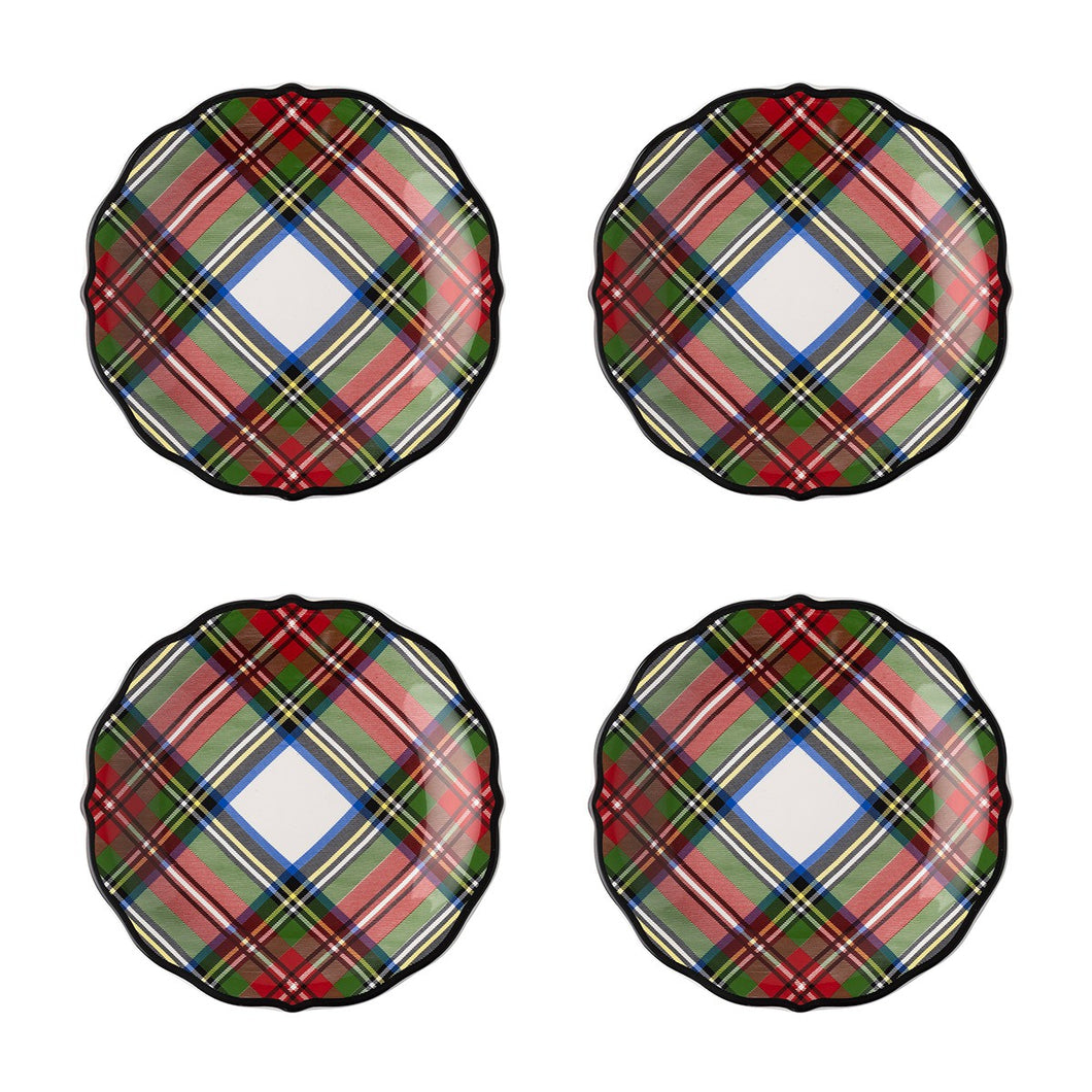 Juliska Stewart Tartan Cocktail Plates Set/4