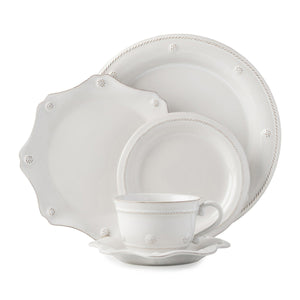 Juliska Berry & Thread Whitewash 5pc Place Setting w/ Tea Cup (JDR/W, JDSS/W, JBBR/W, JA04/W, JSS/W)