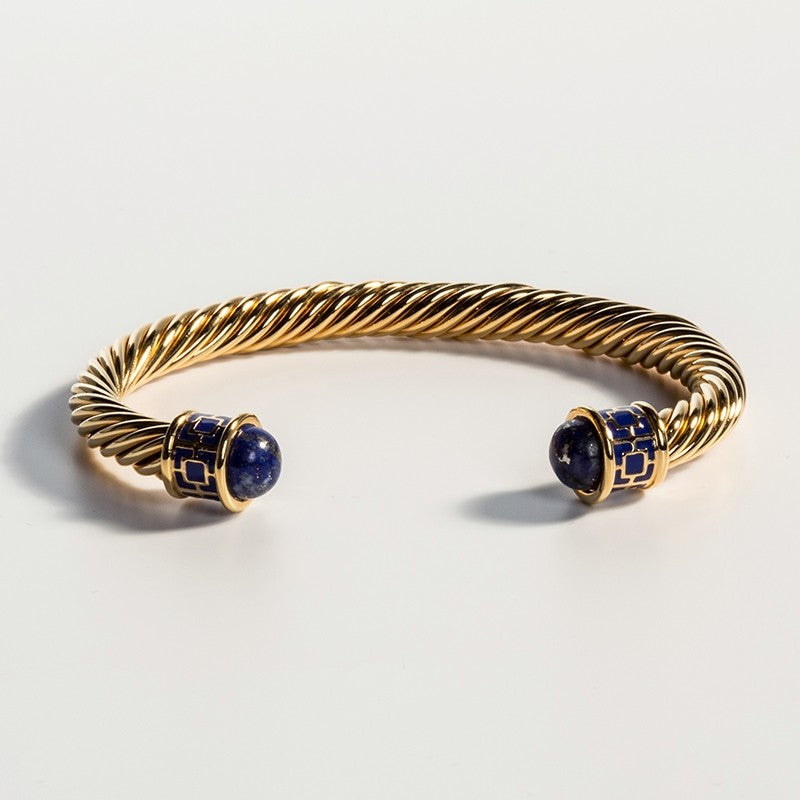 Halcyon Days Maya Torque Deep Cobalt & Gold Bangle